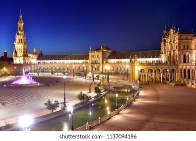 Night view of the central building and south tower  in Plaza de Espana, Seville, Andalusia, Spain