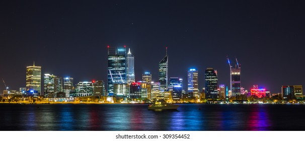 Night view of the Central Business District in Perth, Australia.