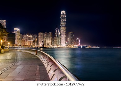 Night view of Central Plaza,Hong Kong Central Business District. View from the waterfront promenade and park along the Victoria bay in Hong Kong island.