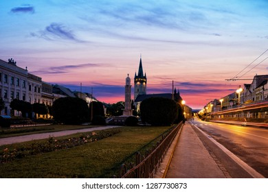 Night view of the central square with Cathedral of Saint Nicholas in Presov. Slovakia, Europe.