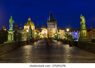 Night view of Charles Bridge (Karluv Most) in Prague. Czech Republic