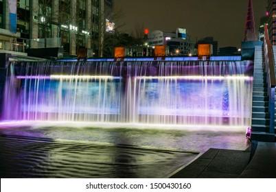 Night view of Cheonggyecheon Stream, Jongno-gu, in Seoul, South Korea