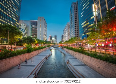 night view at cheonggyecheon stream seoul city korea:3 july 2017 seoul korea
