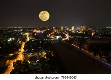 Night view Chiang mai Thailand,SuperMoon