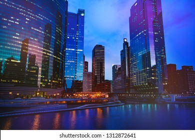 Night view of Chicago downtown with skyscrapers