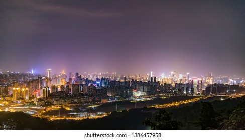 night view of chongqing nanan district. in China. landscape and skyscrapers in chongqing.