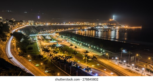 Night view of the Chorrillos Bay in Lima, Peru.