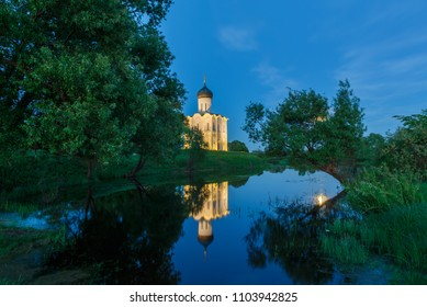Night view of the Church of the Intercession on the Nerl near Vladimir, Russia.