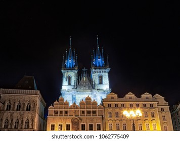 night view of The Church of Mother of God before Tyn - Shutterstock ID 1062775409