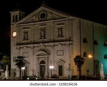 Night view of the church of Santissimo Redentore, or Duomo of Palmanova, Udine, Friuli Venezia Giulia, Italy