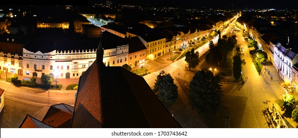 Night view from church tower on Presov city. Old town in Slovakia. Main street lit by street lamps.