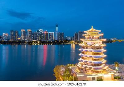 Night view of the city around Hejiang Tower, Huizhou City, Guangdong Province, China