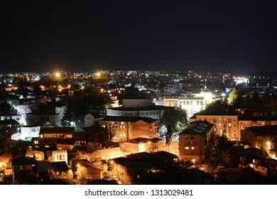 Night view to the city from Bagrati Cathedral in Kutaisi, Georgia