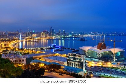 Night view of the city and Baku Seaside boulevard. Baku. Azerbaijan