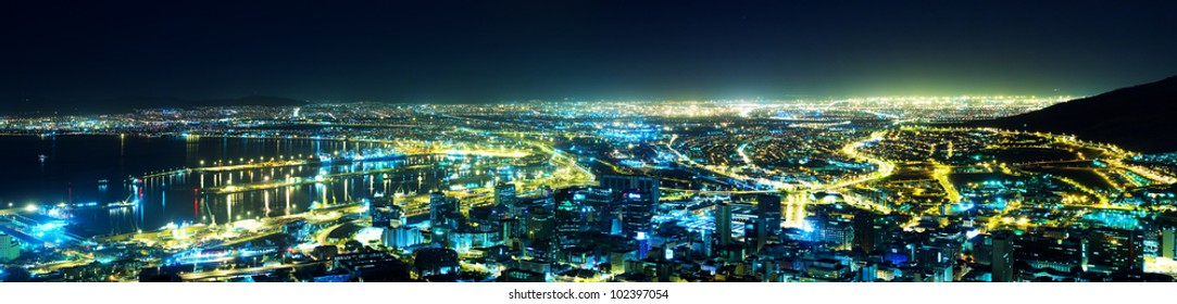 A night view of the city (Cape Town Panorama, South Africa)