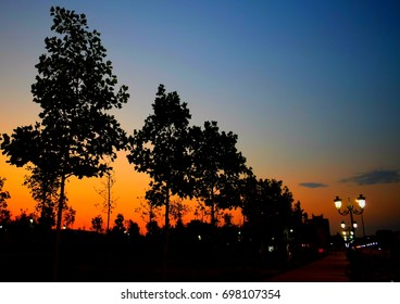 Night view in the city, colorful sunset