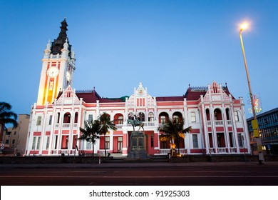 night view of city hall of East London, South Africa