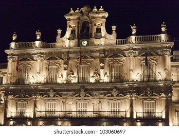 Night view of the City Hall in Salamanca, Spain