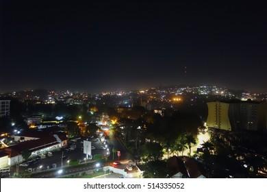 Night view of the city of Kampala, Uganda