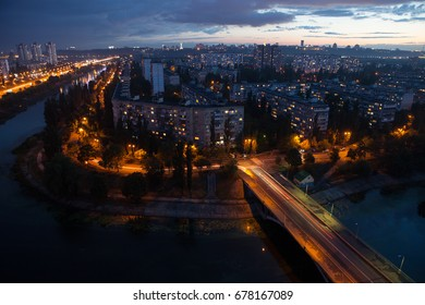 Night view of the city. Kiev, Ukraine