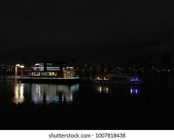 Night View of City Lighting with Boat.