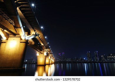 the night view of the city on the Han River in Seoul.