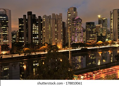 night view of the city of S�£o Paulo Brazil