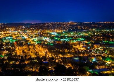 Night view of the city of Riverside, from Mount Rubidoux Park, in Riverside, California.