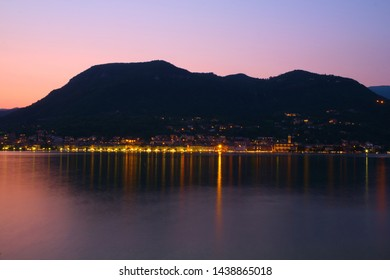Night view of the city of Salo on the shores of Lake Garda Italy