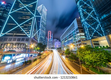 The night view of the city and the traffic in Hong Kong