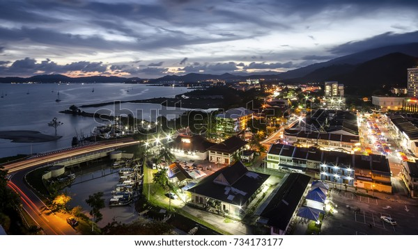 night view of cityscape in Kuah Town, Langkawi Island, Malaysia - long exposure technique applied