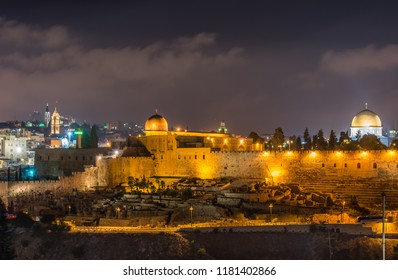 Night view of cityscape of old city Jerusalem built on top of the Temple Mount, with of Siliver dome of Al-Aqsa Mosque and golden Dome of rock