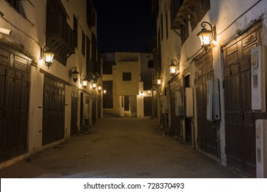 Night view of closed street market in Unesco world heritage historical village, jeddah - saudi arabia