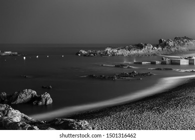 Night view of the coastline and beach of Los Cancajos in La Palma, Spain.