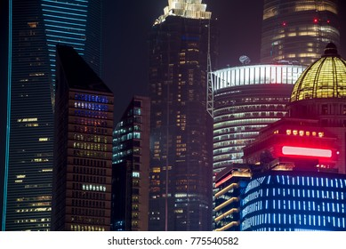 night view with colored high-rises