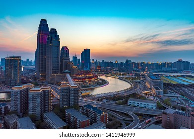 Night View of Commercial Circle in Haihe District, Tianjin, China