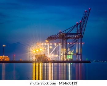 Night view of the container terminal. Commercial port, City Odessa, Ukraine, June 2019. Night Lights.
