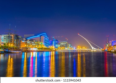 Night view of the Convention Center Dublin and Samuel Beckett Bridge, Ireland