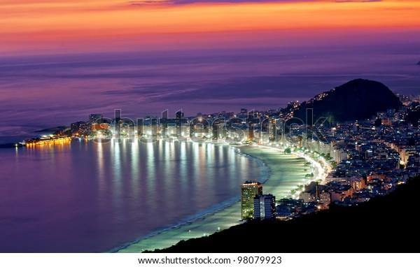 Night view of Copacabana beach. Rio de Janeiro. Brazil.