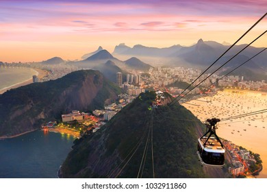 Night view of Copacabana beach, Urca and Botafogo from Sugar Loaf in Rio de Janeiro