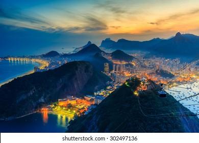Night view of Copacabana beach, Urca and Botafogo from Sugar Loaf in Rio de Janeiro