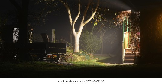 night view of country house and garden, south Bohemia, Czech Republic