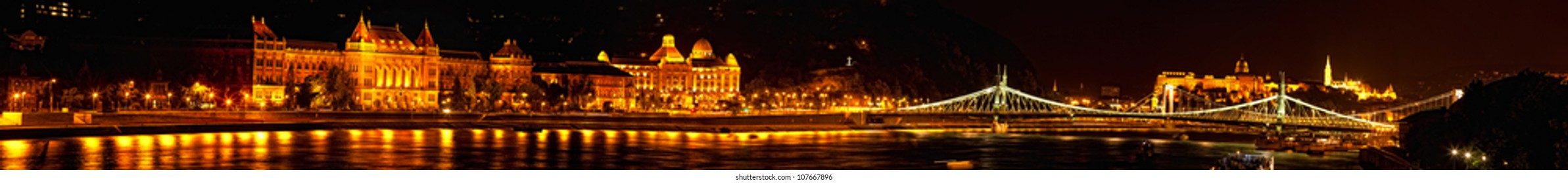 Night view of Danube and Budapest from outside Peshta