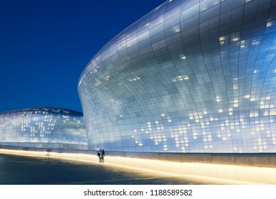 The night view of DDP in Seoul, South Korea.