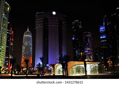 Night View of DECC Metro Station at downtown in Doha, Qatar - 06/22/2019