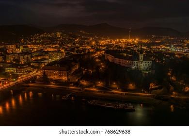 Night view for Decin city in north Bohemia in autumn evening