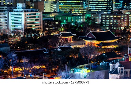 night view of deoksugung palace in seoul south Korea