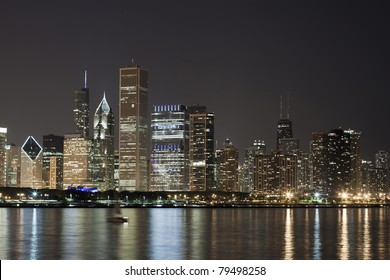 Night View at Downtown Chicago and lake Michigan