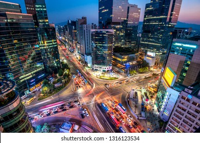 night view of downtown at gangnam square in seoul south Korea