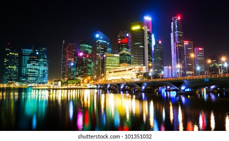 A night view of downtown Singapore